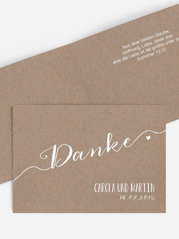 Blanko-Dankeskarte Hochzeit Kalligrafie