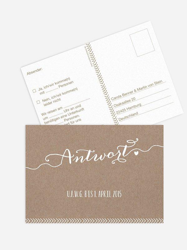 Antwortkarte Hochzeit Kalligrafie
