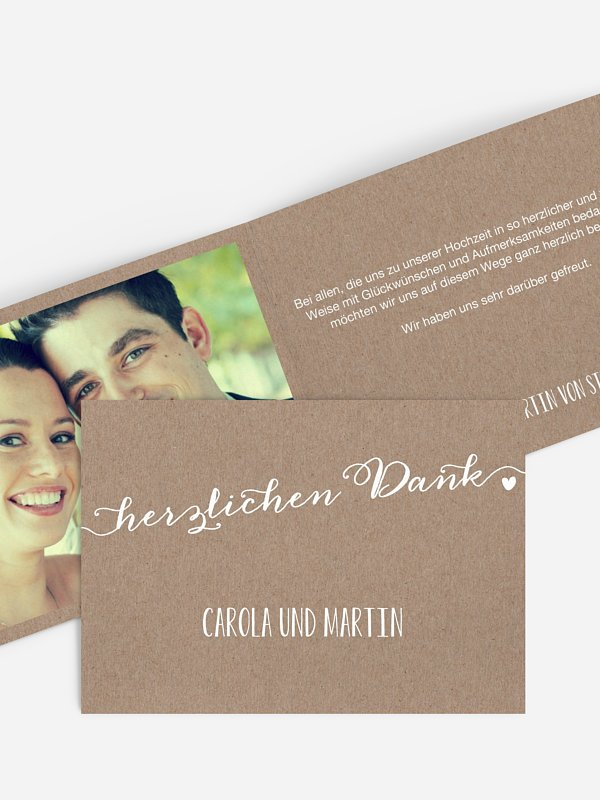 Dankeskarte Hochzeit Kalligrafie