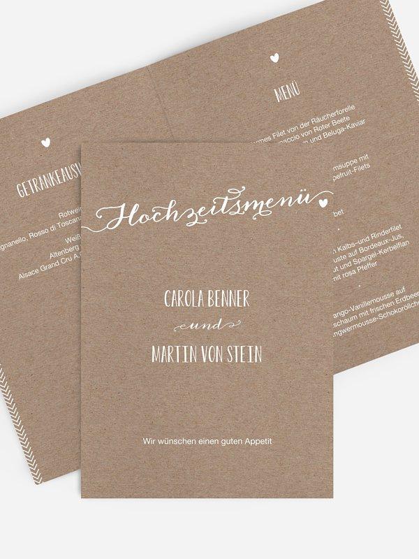 Menükarte Hochzeit Kalligrafie