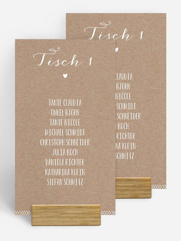 Gruppentischkarte Kalligrafie