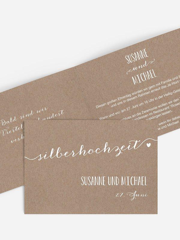 Einladung zur Silberhochzeit Kalligrafie