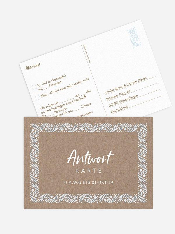 Antwortkarte Hochzeit Winter Frame