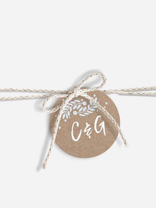 Étiquette avec ruban Cadre hivernal