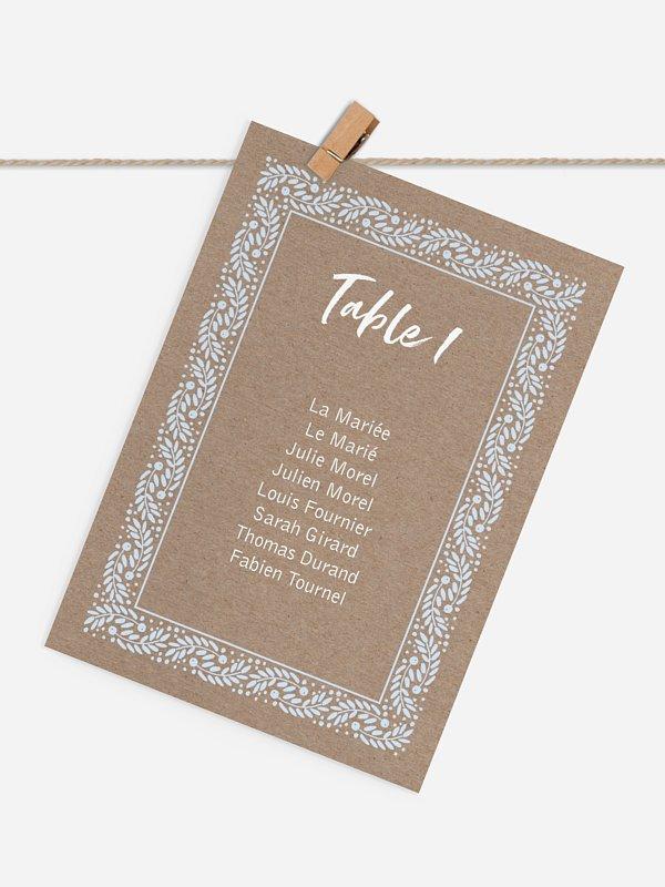 Cartons plan de table mariage Cadre hivernal