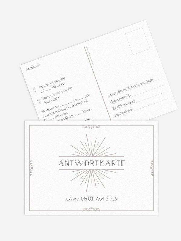 Antwortkarte Hochzeit Glam