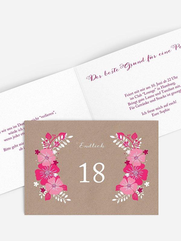 Einladung 18. Geburtstag Blumig