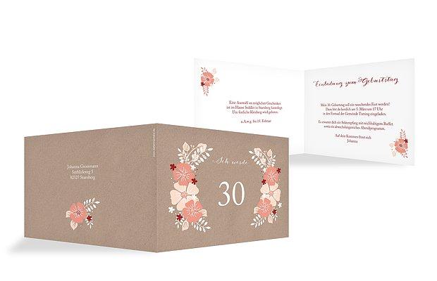 Einladung 30. Geburtstag Blumig