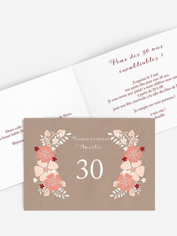invitation anniversaire 30 Champêtre printanier