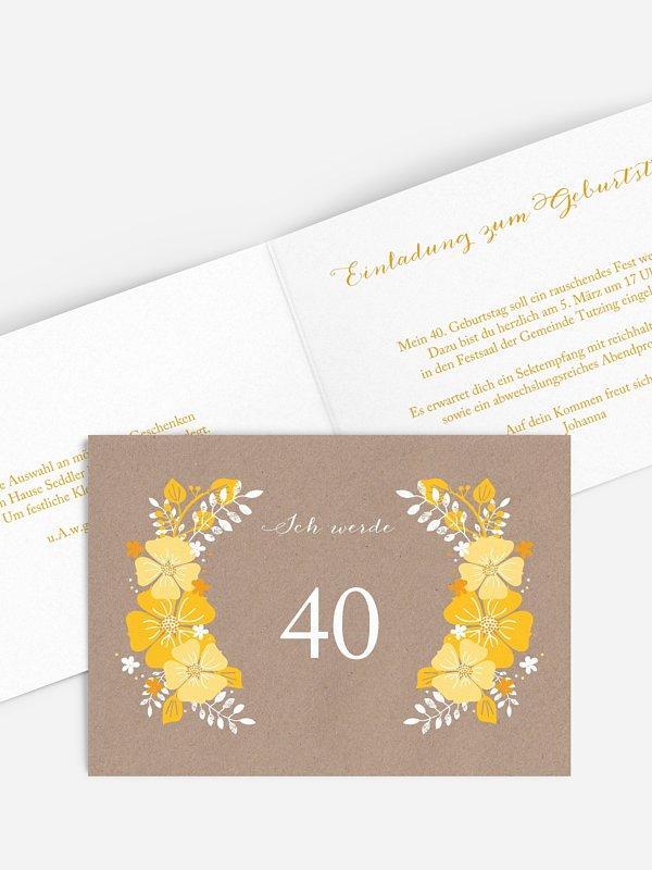 Einladung 40. Geburtstag Blumig