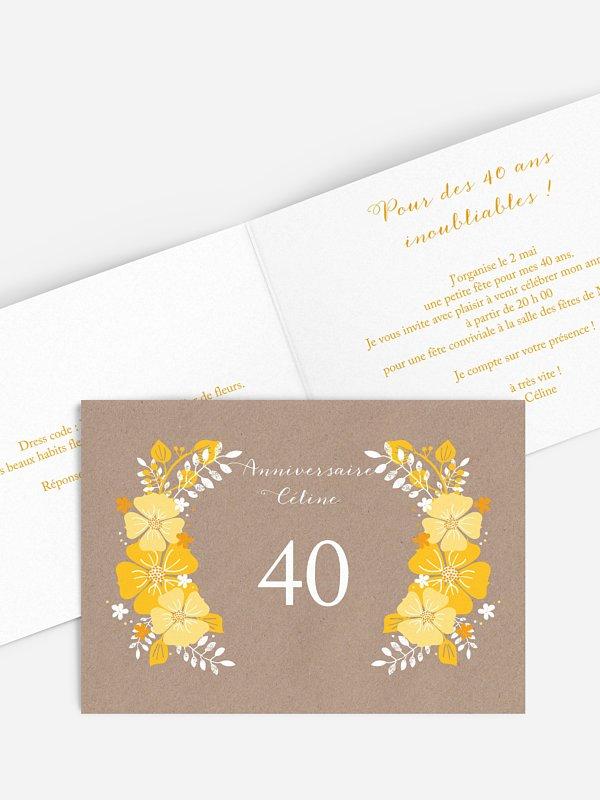 invitation anniversaire 40 Champêtre printanier