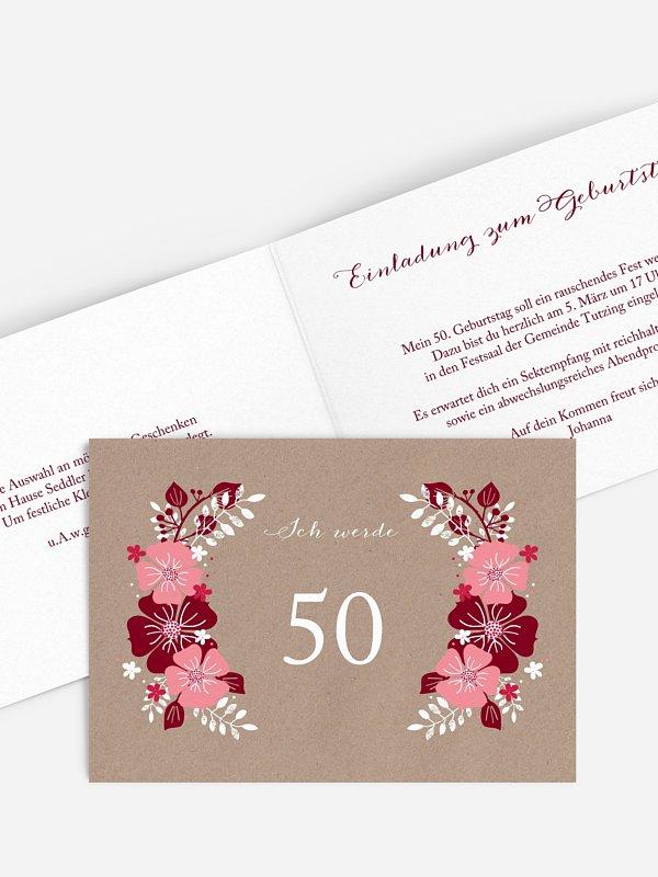 Einladung 50. Geburtstag Blumig