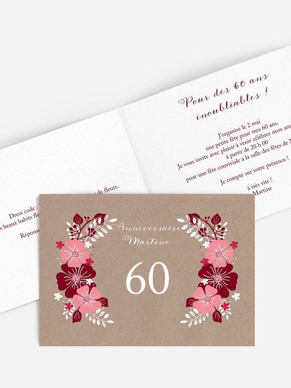 Invitation Anniversaire 60 Champetre Printanier