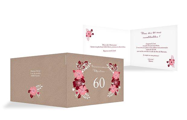 invitation anniversaire 60 Champêtre printanier