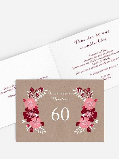Carte Invitation Anniversaire 60 Ans Large Choix De Modèles