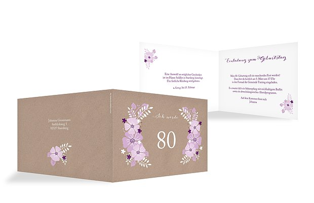 Toll Einladung 80. Geburtstag Blumig