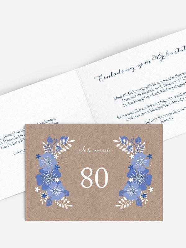 Einladung 80. Geburtstag Blumig