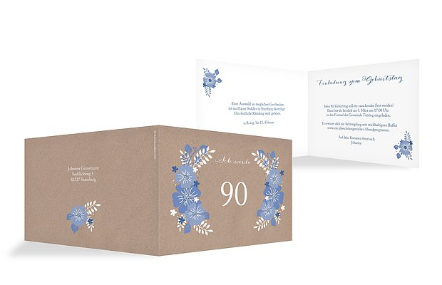 Einladung 90. Geburtstag Blumig
