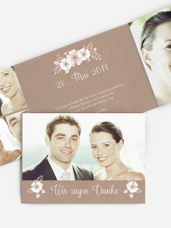 Dankeskarte Hochzeit Blumig