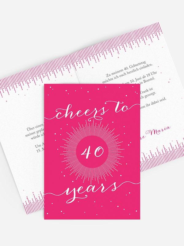 Einladung 40. Geburtstag Sparkling