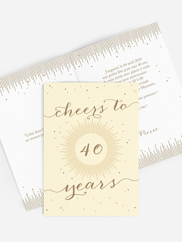 invitation anniversaire 40 Cheers