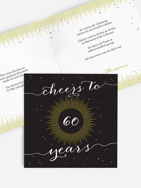 Einladung 60. Geburtstag Sparkling