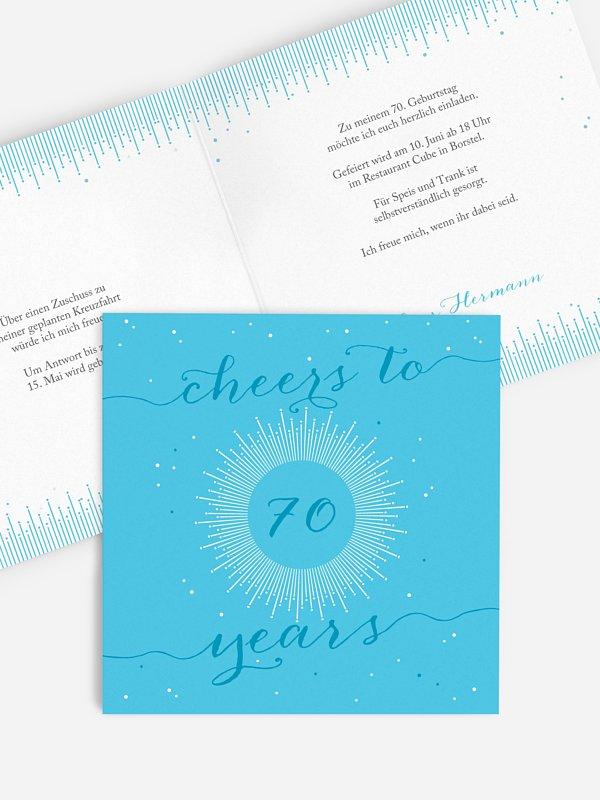 Einladung 70. Geburtstag Sparkling