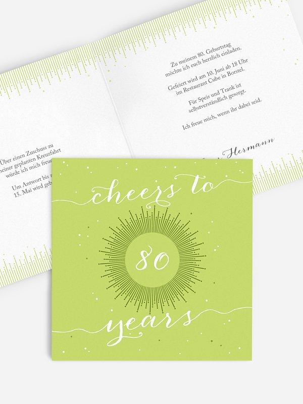 Einladung 80. Geburtstag Sparkling