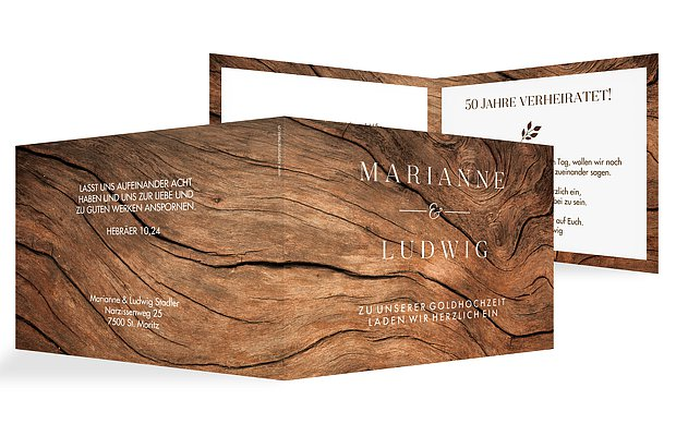 Einladung zur Goldenen Hochzeit Auf Holz