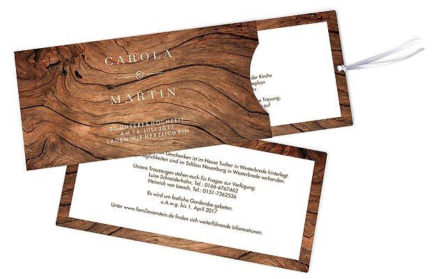 Hochzeitseinladung Auf Holz