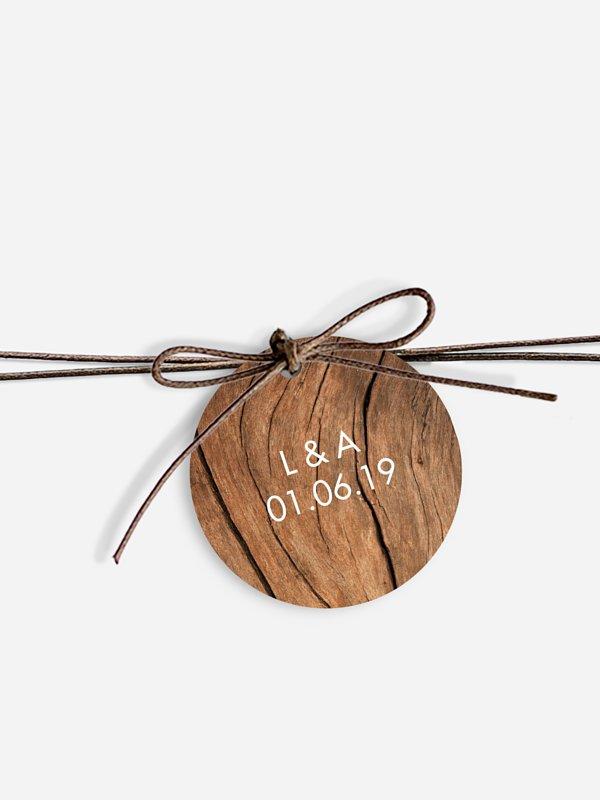 Étiquette avec ruban Effet bois
