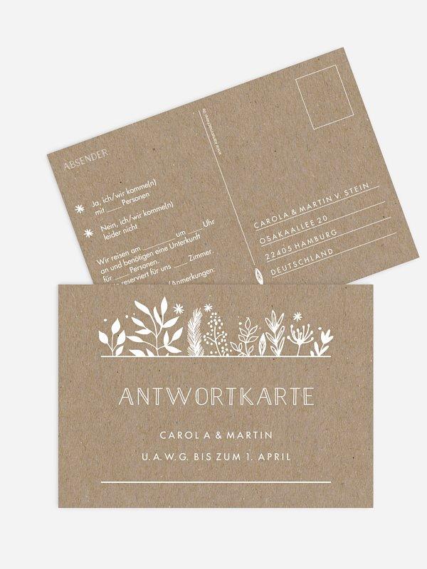 Antwortkarte Hochzeit Les Floralies Kraftpapier