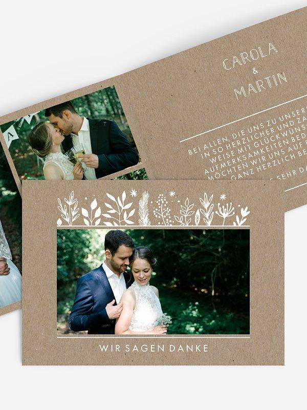 Dankeskarte Hochzeit Les Floralies Kraftpapier