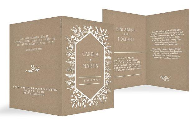 Hochzeitseinladung Les Floralies Kraftpapier