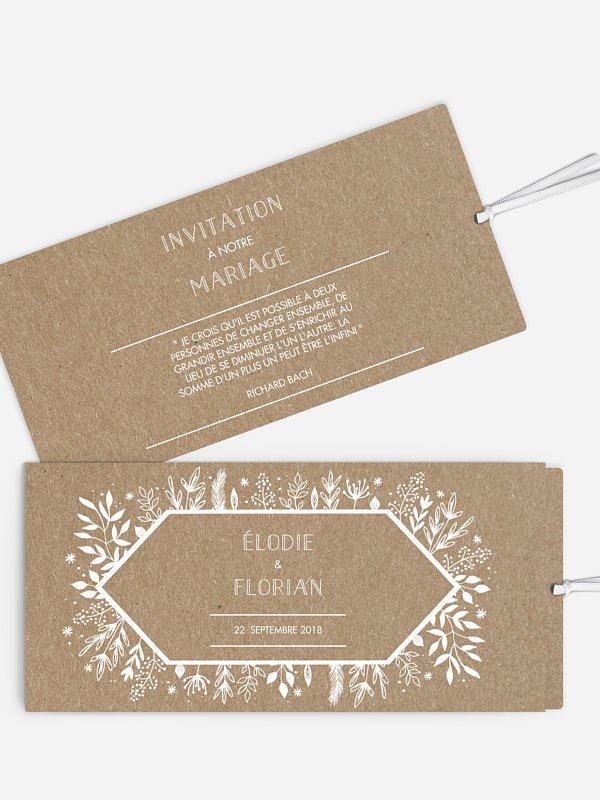 Faire-part mariage Les floralies papier kraft