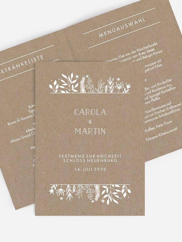 Menükarte Hochzeit Les Floralies Kraftpapier