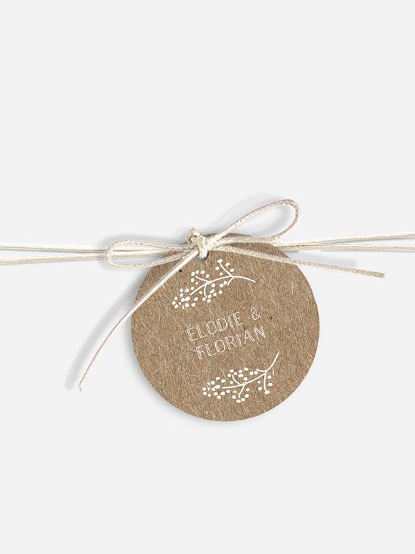 Étiquette avec ruban Les floralies papier kraft