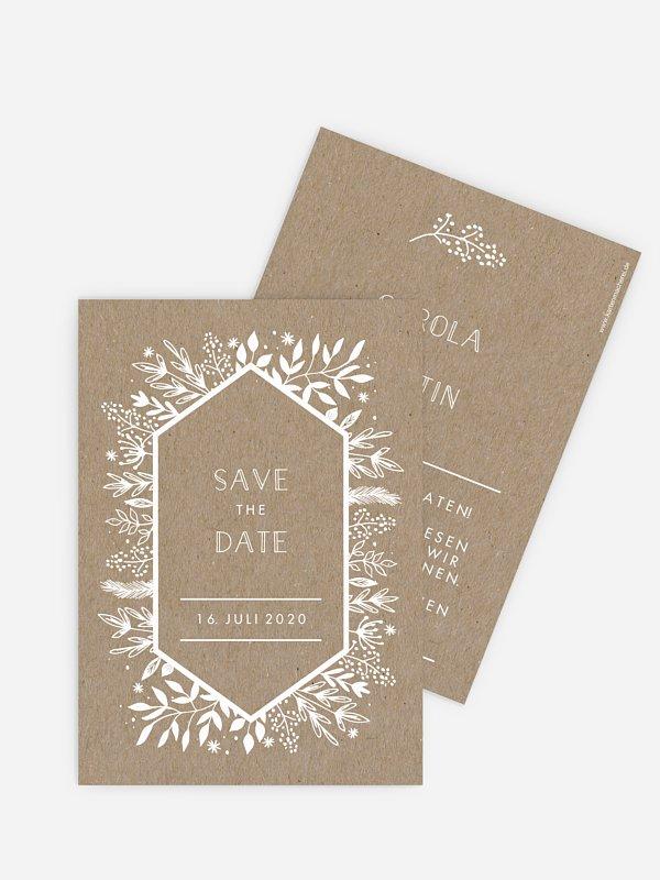 Save-the-Date Karte Les Floralies Kraftpapier