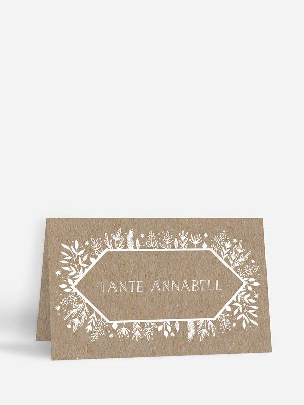 Tischkarte Hochzeit Les Floralies Kraftpapier