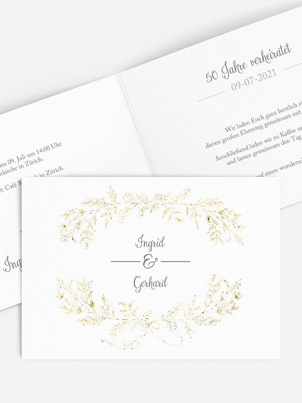 Einladung zur Goldenen Hochzeit Leaves of Love