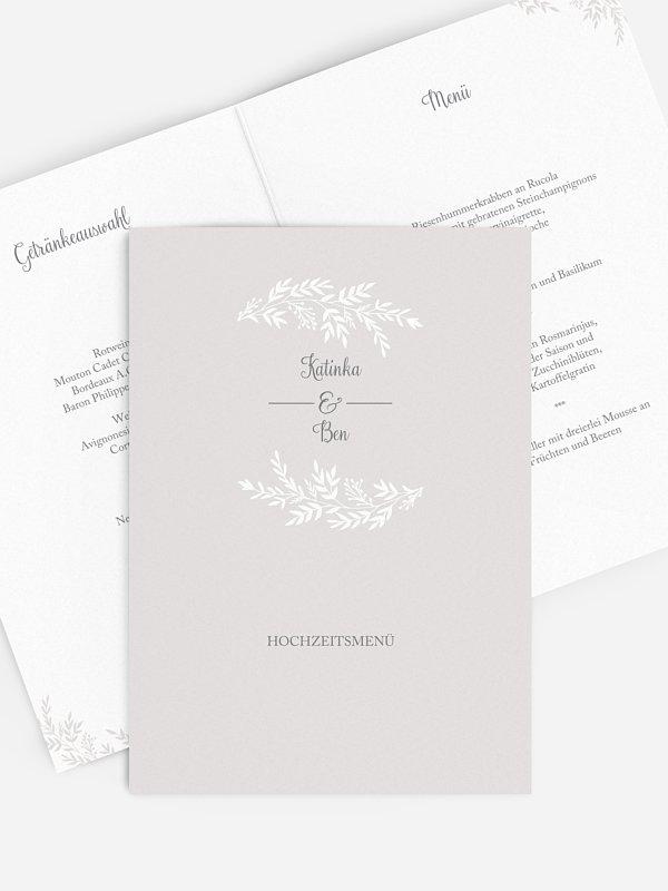 Menükarte Hochzeit Leaves of Love