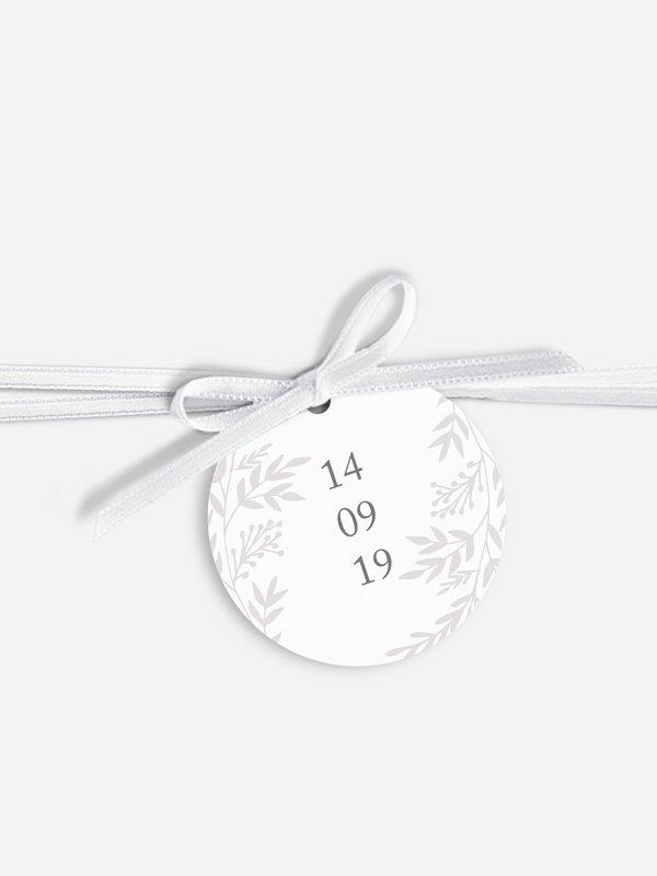 Étiquette avec ruban Feuilles d'amour