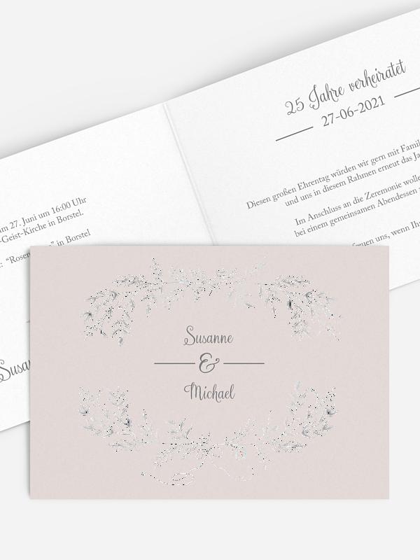 Einladung zur Silberhochzeit Leaves of Love