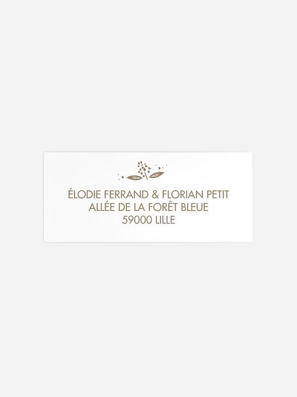Étiquette expéditeur mariage Les Floralies Premium