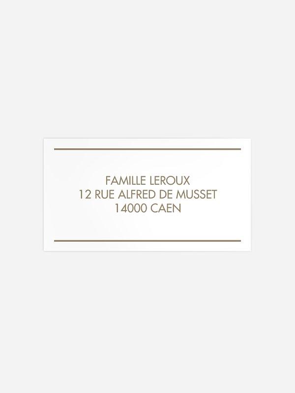 Étiquette destinataire mariage Les Floralies Premium