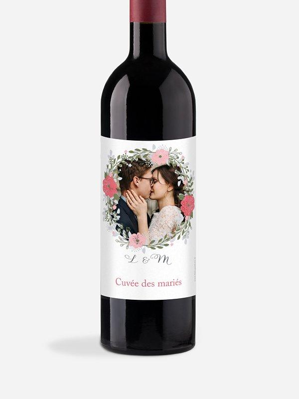 Étiquette bouteille Couronne de fleurs