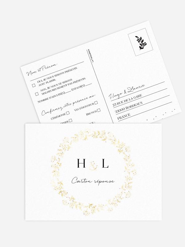 Carton réponse Couronne scintillante - Dorure