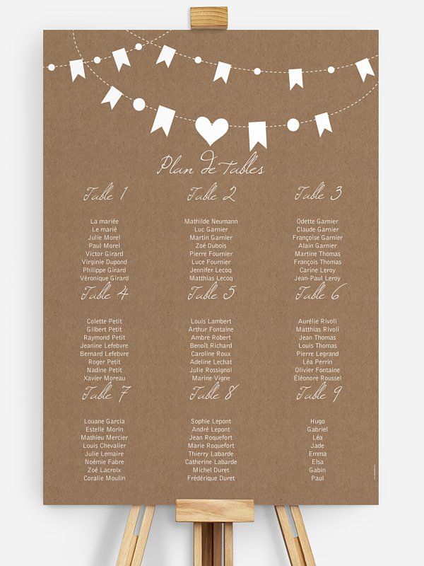 Poster plan de table mariage Fête champêtre