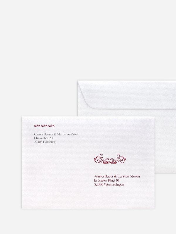 Bedruckter Briefumschlag Hochzeit Klassik