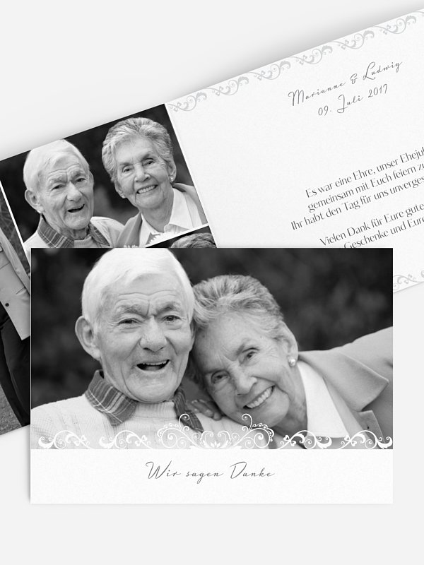 Dankeskarte Goldene Hochzeit Klassik